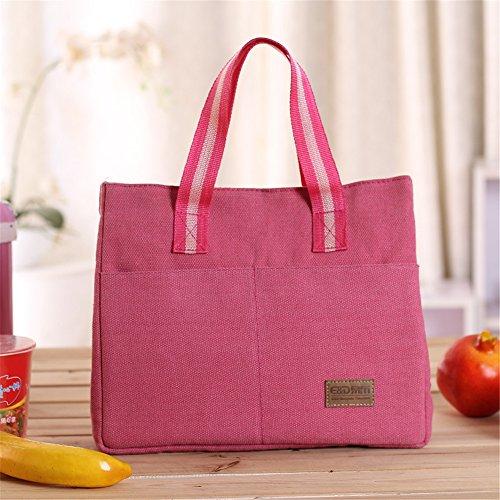 qearly Mode Toile Sac isotherme Sac repas pochette sac de pique-nique sac isotherme Snack pour enfants et adultes de mort rose