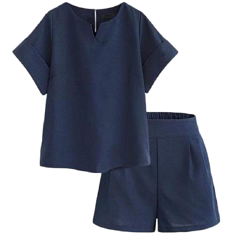 見通し独占影響するRomancly 女性固体ポケットプラスサイズ半袖帝国ウエストショーツトップブラウス