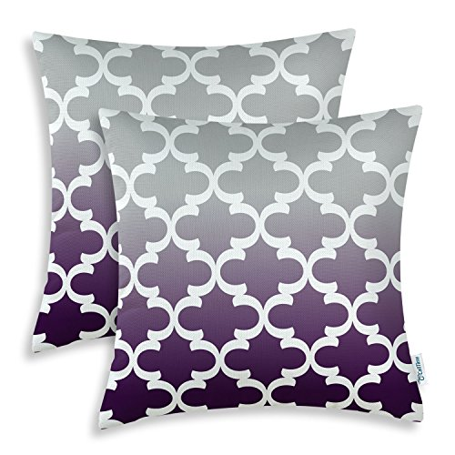 CaliTime Pack of 2 Canvas Throw Pillow Covers Cases for Couch Sofa Home Decor Modern Gradient Quatrefoil Accent Geometric 18 X 18 Inches Gray to Deep Purple