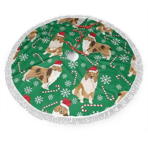 ~ Rough Collie Christmas Holiday Christmas Tree Skirts, Xmas Tree Skirt Mat for Christmas Thanksgiving Holiday Home Party Decorations Ornaments (36 Inches)