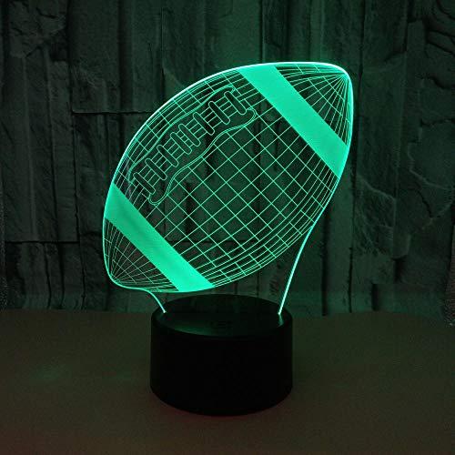 WULDOP Luz De Noche 3D Rugby deportes creatividad Óptica Lámpara De Mesa Luz Iluminación 7 Colores De Control Remoto Con Acrílico Plano & Abs Base