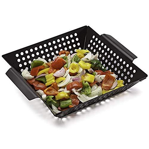 Delleu Gemüsegrillkorb -Grillzubehör zum Grillen von Gemüse, Fisch, Fleisch,Pizza - Verwendung als Wok, Pfanne, Raucher - Campingkochgeschirr - Holzkohle- oder Gasgrill