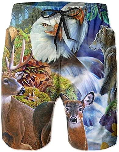 Pantalones Cortos De Playa Transpirables para Hombre Bañador Pantalones Cortos De Animales Bosque De Secado Rápido Adecuado para Surf De Verano Y Junto A La Piscina M