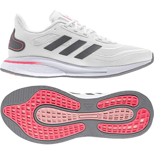 adidas Women's Supernova Running Shoe White/Grey/Signal Pink 8