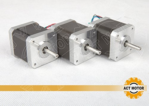 ACT MOTOR GmbH 3PCS 17HS4417 Nema17 Stepper Motor Bipolar 40mm Body 40Ncm Torque 4Wire 300mm Cable 1.7A with 1.8° 2.55V for Robot CNC Schrittmotor 3D Printer