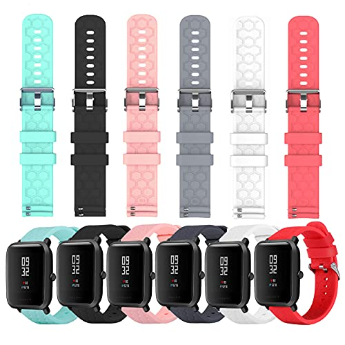 6-Pack Soft Silicone Bands Compatible with YAMAY SW020 SW021 SW023 ID205 ID205L ID205U Smart Watch, Replacement Quick Release Silicone Bands for Women&Men