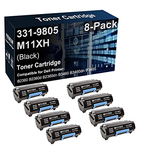 8-Pack Compatible B2360dn B3460dn B3465dn Printer Cartridge Replacement for Dell 331-9805 M11XH C3NTP Toner Cartridge (Black, Texts-Clear)