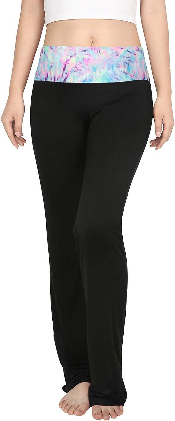 25% OFF HDE Women's Color Block Fold Over Waist Yoga Flare Pants Leg Wor Sales