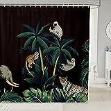 Cortina de ducha de tela de árbol de coco, cortina de ducha con diseño de leopardo de perezoso, cortina de ducha impermeable para baño, 172 cm de largo