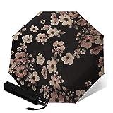 Paraguas compacto plegable de tres pliegues, diseño floral, color rosa y cerezo