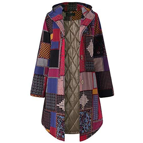 VJGOAL Manteau Femme Hiver Vintage Long Veste Style National Imprimé Capuche Blouson Femme Fleurie Grande Taille Manches Longues Épaissir Chaud Jacket Coton Chic Autumn Cardigan L-5XL