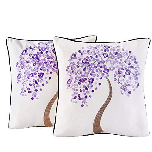 Juego de 2 fundas de cojín, 45 x 45 cm, algodón, con bordados, diseño de árbol, hojas, lila, resistente, con cremallera estable, decoración del hogar para sofá, salón, dormitorio