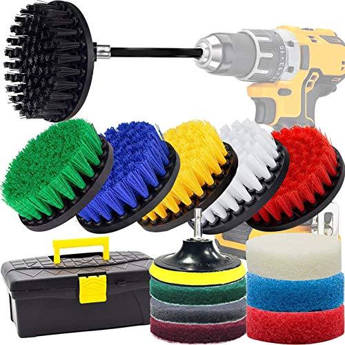 ドリル ブラシ GOH DODD 掃除用16点セット アタッチメント付き スクラブパッド 六角軸電動ドリルに適応 洗車 浴室掃除用ブラシ、キッチン、カーペット、タイル掃除用
