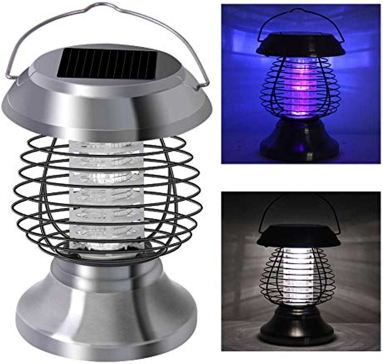 GLXQIJ Tragbare LED Solar Moskito MRder Lampe, Zelt Licht Camping Laterne, Outdoor Hausgarten Landschaft Licht,Silber