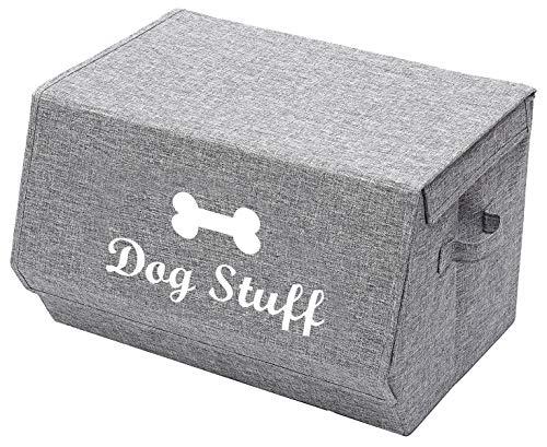 Morezi faltbare Aufbewahrungsbox mit Deckel,Haustierspielzeugaufbew ahrungkiste,Hundespielzeugbox,Katzenspielzeug Aufbewahrungsbox-grau