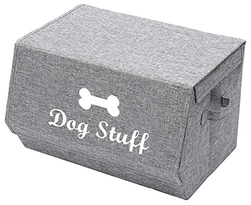 Morezi Leinen-Spielzeugkorb für Hunde mit Deckel, Korbtruhe Organizer – perfekt für die Organisation von Haustierspielzeug, Decken, Leinen und Futter