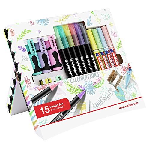 edding - Pastell Celebrations - 15er Set - Rundspitze, Keilspitze - Textmarker, Filzstifte, Glanzlackmarker zum Zeichnen, Malen, Bullet Journaling, Handlettering, Scrapbooking in Pastellfarben, Multi
