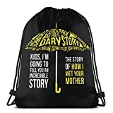How I Met Your Mother Drawstring Backpack Gym Sports Trave String Bag 14.2 x 16.9 Inch/36 x 43cm