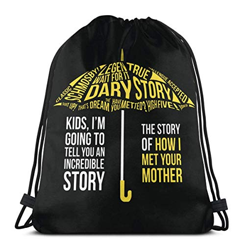QUEMIN How I Met Your Mother Drawstring Backpack Gym Sports Trave String Bag 14.2 x 16.9 Inch/36 x 43cm
