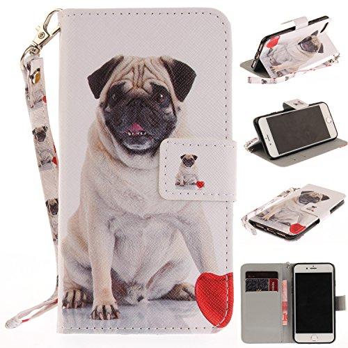 Misteem Hülle für iPhone 7 Plus Tier, Cartoon Comic Anime Motive Case Leder Tasche Schutzhülle mit Wallet Stoßfest Kartenhalter Hüllen Etui für Apple iPhone 8 Plus [Mops H&]