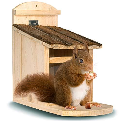 Gardigo Eichhörnchen Futterhaus aus FSC Holz | Futterstelle, Futterspender zum Aufhängen