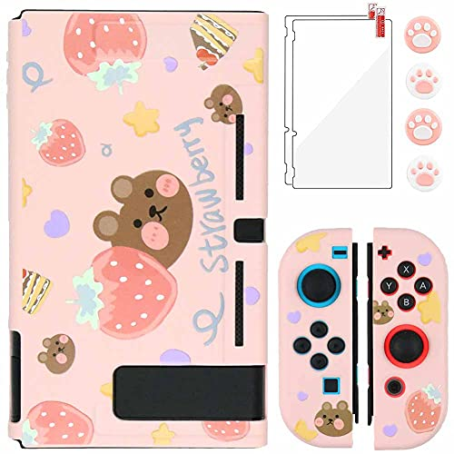 Aosai Case for Nintendo Switch, Protective Case Cover for Nintendo Switch and Joy Con Controller with 4 Thumb Grips and 2 Glass Screen Protector (Strawberry Bear Pink)
