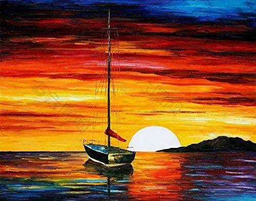 Doe-het-zelf digitale olieverfschilderij boot in zee bij zonsondergang frameloos canvas hangende afbeelding hoofddecoratiegeschenk, handgeschilderd moderne muurkunst 40 * 50 cm voor kinderen kinderen studenten beginners liefhebbers