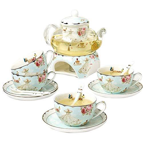 N&G Accesorios para Sala de Estar Tazas de café de Porcelana Fina de Hueso Serie de Flores Cuchara de platillo de Taza de té con Filtro de Calentador de Tetera 14 Piezas en 1 Juego