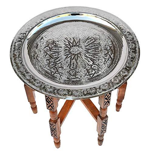 Tavolo orientale in ottone argentato, struttura in legno di cedro Ø 50 cm per il vostro salotto   Tavolino d'appoggio vintage marocchino da divano 100% artigianale tradizionale