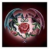 MXJSUA Kit de Pintura de Diamantes 5D, DIY Pintura al oleo por numerosdiseño de Dragones y Rosas, Bordado de Punto de Cruz de Cristal para Manualidades, para decoración de Pared de salón 30 x 30 cm