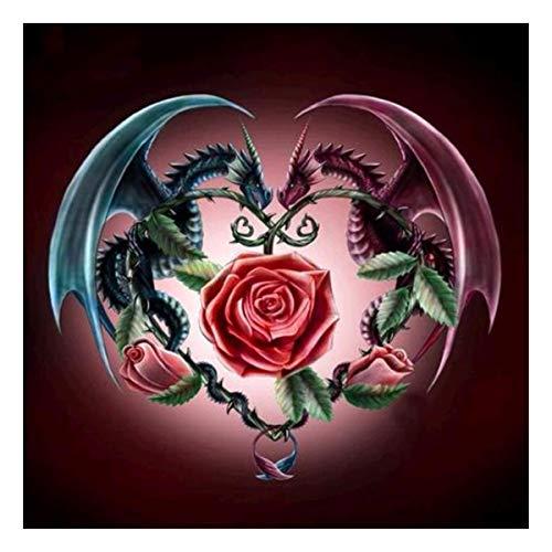 5D-Diamantbild-Satz zum Selbermachen,DIY 5D Diamant Painting Drachen und Rose, Strass-Stickerei, Kreuzstich-Kunst, Hobby-Zubehör, Wohnzimmer-, Wanddekoration 30x 30cm,Malen nach Zahlen