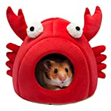 Hollypet Warm Small Pet Animals Bed Dutch Pig Hamster Cotton Nest Hedgehog Rat Chinchilla Guinea Habitat Mini House, Red Crab