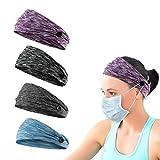 4pcs Button Headbands Set- Non Slip Elastic Headbands with Button Hair accessories for Women Men Moisture Wicking Sweatband Sports Head Wrap for Yoga Sports Outdoor Activities