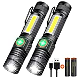 Rechargeable Flashlight, Magnetic Flashlight Super Bright LED, Tactical Flashlight Pocket-size with Clip, High Lumen, Waterproof, Zoomable, 4Mode for Camping, Emergency use, Battery Included, 2pack
