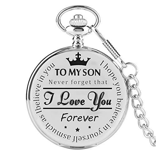 J-Love Reloj de Bolsillo de Cuarzo para Hombre, número Romano, Reloj para Hombre, cumpleaños para niño