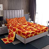 Feelyou Twin Bed Sheets Set for Kids Bedroom Decor Pizza Sheet Set Pepperoni Be Print Bedding Set Soft Lightweight Funny Delicious Pizza Theme Bed Cover with Flat Sheet, Fitted Sheet, Pillow Case