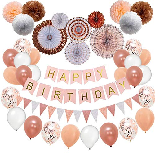 Rose Gold Birthday Party Decorations, Bachelor Party Supplies 52pc Pom Poms, Hanging Paper Fans, Happy Birthday banner, Rose Gold Glitter Garlands, Balloons,Confetti balloons, Bachelor party kit