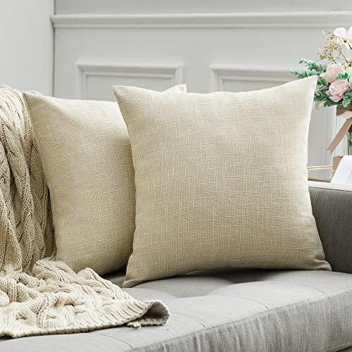 MIULEE 2er Pack Leinenoptik Home Dekorative Kissenbezug Kissenhülle Kissenbezug für Sofa Schlafzimmer mit Reißverschlüsse 50x50 cm ,Milchweiß