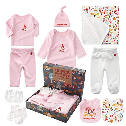 Set de Regalo para Bebé, Cajas de Recuerdo para Recién nacidos Ropa con Tops de Manga Larga para Bebés, Monos, Pantalones, Leggings, Manoplas, Calcetines, Baberos, Manta