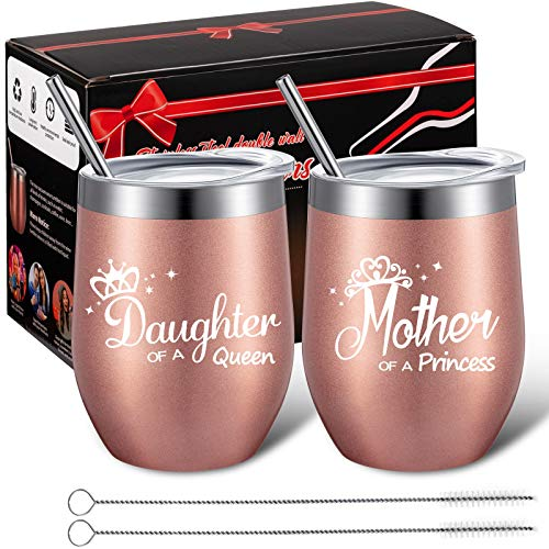 2 Pieces Wine Tumbler Gift for Mom from Daughter, Mother of A Princess Daughter of A Queen, Mother Daughter Matching Gifts Idea, Mom Present for Birthday Mother's Day, 12 oz Coffee Cup with Gift Box