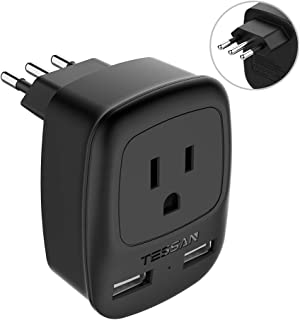 Italy Power Adapter Type L, TESSAN US to Italy Plug Adapter, Italy Travel Adapter with 2 USB Ports, Electrical Adapters for Italy Outlet Plug Adapter for Italy Uruguay Chile Rome