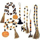 6Pcs Halloween Wooden Bead Pumpkin Hat Black...