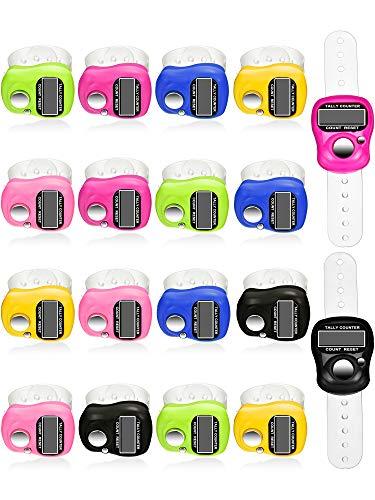 18 Stück Handzähler 5 Digitaler Fingerzähler Clicker Rückstellbarer Rundenzähler Handheld Mechanische Anzahl Klickzähler, 6 Farben