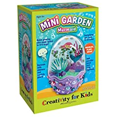 "MINI TERRARIUM FOR KIDS - Decorate, plant and grow your own mini terrarium in a mermaid egg-shaped environment. Quick grow seeds and fun under the sea decorations bring your mermaid garden to life (Completed garden measures 5 ¼"" h x 3"" w. ) COMPLETE ..."