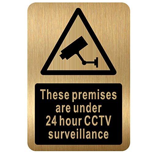 """Cartello di videosorveglianza CCTV con immagine in alluminio spazzolato, con scritta in lingua inglese """"These Premises Are Under 24 Hour"""" (lingua italiana non garantita)"""