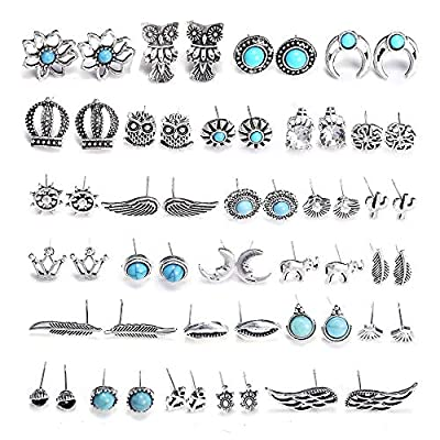 SUNNYOUTH 28 Pairs Assorted Multiple Boho Stud Earrings Jacket Set Vintage Turquoise Owl Leaf Cactus Earrings Stud for Women Girls