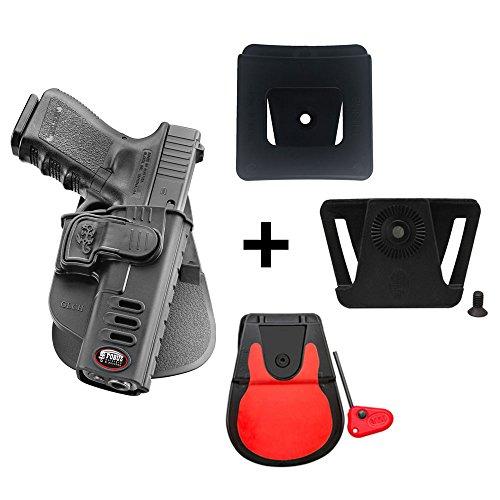 Fobus Kit Rotating Roto Paddle Trigger Guard Lock Tactical Saftey Retention Holster + Cinturón de sujeción + 6 cm Police Wide Duty Belt Adapter for Glock 17, 19, 22, 23, 31, 32, 34, 35