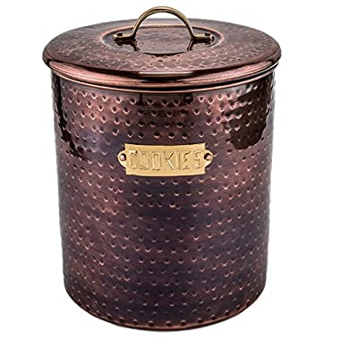 Old Dutch 1844 Hammered Antique Copper Cookie Jar, 4 quart, Antique Copper