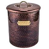 old dutch 1844 hammered cookie jar, 4 quart, antique copper