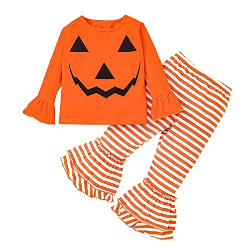 YWLINK Nuevo PantalóN De Blusa con Cabeza De Fantasma De Calabaza De Halloween,Blusa De Calabaza De Dos Piezas,Manga Larga Traje De PantalóN Acampanado A Rayas